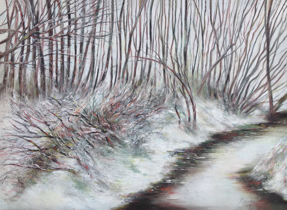 Peter Caddy pastel drawing French snow landscape